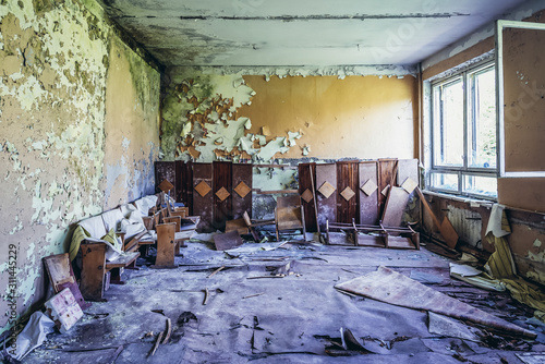 Interior of clubhouse for officers in Soviet military ghost town and radar stati Tablou Canvas
