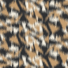Spliced Vector Camouflage Spots Texture. Variegated Animal Skin Background. Seamless Camo Ikat Pattern. Modern Distorted Mottled Textile All Over Print. Cat Leopard Fashion Disrupted Tile Repeat.