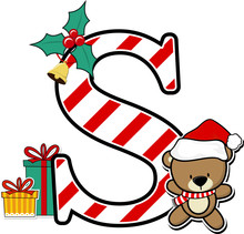 Capital Letter S With Cute Teddy Bear And Christmas Design Elements Isolated On White Background. Can Be Used For Holiday Season Card, Nursery Decoration Or Christmas Party Invitation