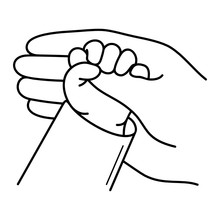 Newborn Baby Hand Holds Mother Finger