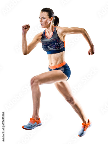 Leinwand Poster one young caucasian woman runner running jogger jogging athletics competition is