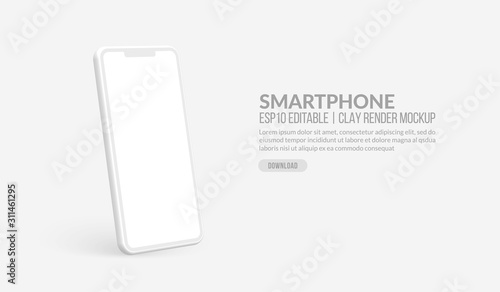 Cuadros en Lienzo  Smart phone mockup with blank screen, Clay render template for app development a