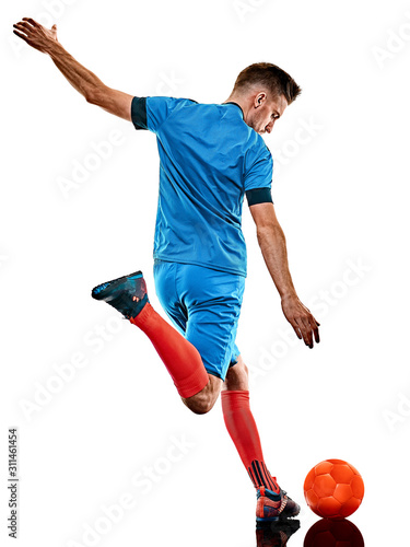 one caucasian youg soccer player man standing in studio isolated on white background Fototapete