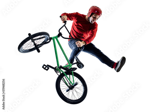 Photo one young caucasian man BMX rider cyclist cycling freestyle acrobatic stunt in s