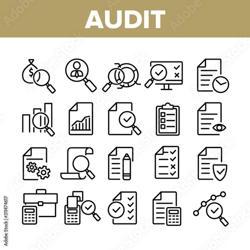 Audit Finance Report Collection Icons Set Vector Thin Line Wallpaper Mural