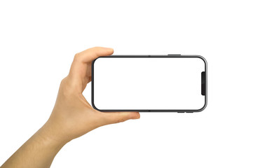 Hand Holding Horizontal Mobile Phone With White Screen