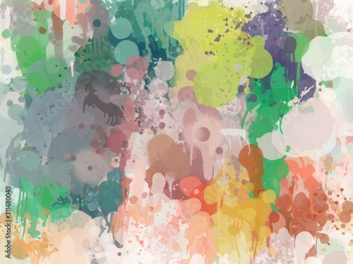 Fototapety, obrazy: colorful drop down color abstract background with watercolor texture, Oil paint. ink paper, concrete wall graffiti. painted rough surface background for Christmas ,3D, autumn art,winter art, business
