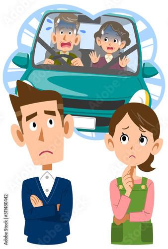Fotografía  親の運転を心配する夫婦の顔