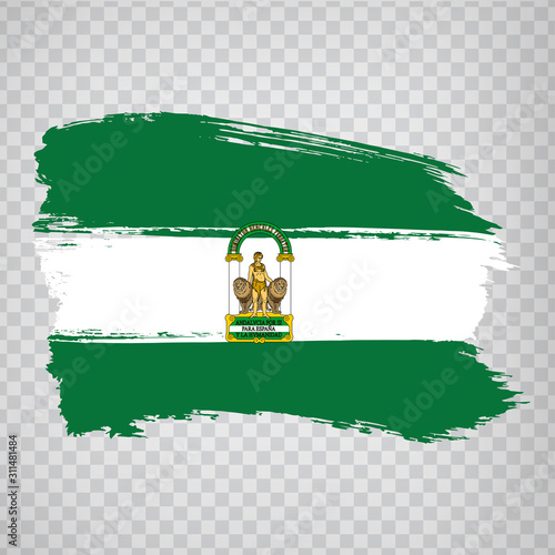 Flag of Andalusia brush strokes. Flag Autonomous Community Andalusia and Leon on transparent background for your web site design, logo, app, UI. Kingdom of Spain. Stock vector. EPS10.