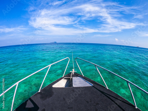prow of speedboat on the sea Canvas