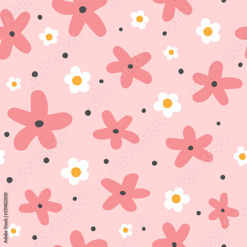 plakat Cute seamless pattern with flowers and round spots. Funny floral print. Girly vector illustration.