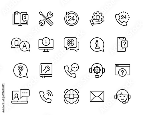 help and support icon set editable vector move Wallpaper Mural