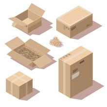 Isometric Brown Cardboard Deli...