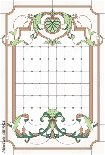 Photo Stained-glass window decoration panel in a rectangular frame, abstract floral arrangement of buds and leaves in the baroque style