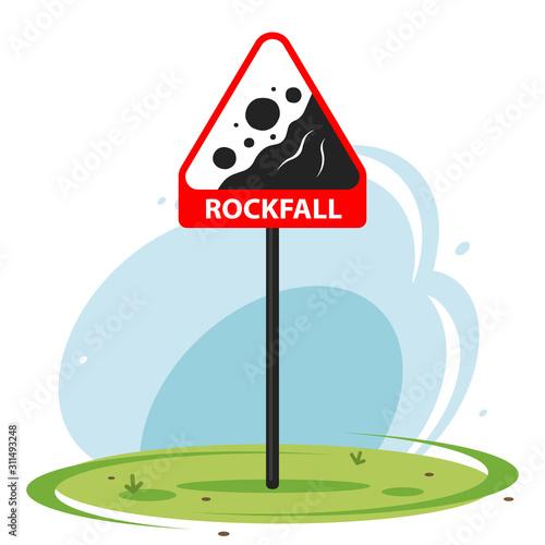 Fotografie, Obraz Red road sign rockfall on nature background