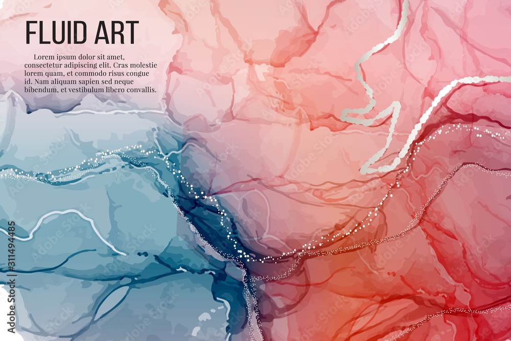 Fototapeta Vector contrast red blue rose silver marble poster, alcohol ink greeting card, website banner, abstract packaging with liguid flows background