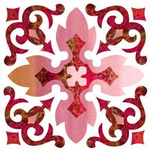 Watercolor Red Arabic Ornament...