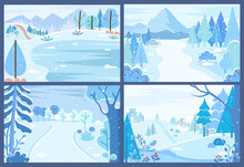 Set Of Wintry Landscapes. Collection Of Winter Forests With Blizzards And Snowfalls. Tranquil Rural Area, Outdoors Scenery. Mountains And Streets, Serenity Of Countryside. Vector In Flat Style