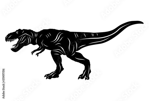 Silhouette of Dinosaur t-rex isolated on white background Canvas Print