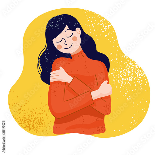 Love yourself concept, Woman hugging herself, Vector Illustration Canvas Print