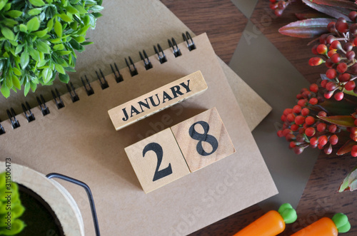 Tela  January 28, Cover natural Calendar, Appointment Date design.