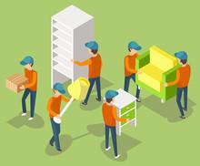 Moving Furniture Teamwork, Men...
