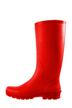 Red Rubber Boots Isolated On W...
