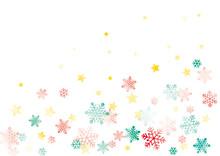 雪と星の背景 水彩 ...