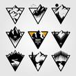 set of vintage mountain triangle logo view landscape outdoor adventure vector illustration design