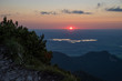 sunset alpine foothills upper bavaria, view to lake staffelsee