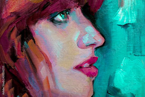 Fotomural  Abstract oil painting with crazy colors