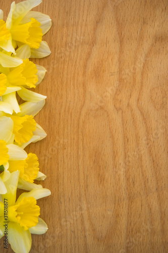 Beautiful yellow daffodils on wooden background, bright studio shot, copy space, Tablou Canvas