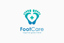 Foot Care Medical Logo. Footprint And Heart Symbol With Cross Icon Inside. Flat Vector Logo Design Template Element