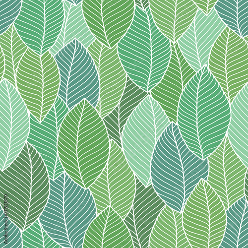 Tapeta zielona  beautiful-spring-leaves-seamless-pattern