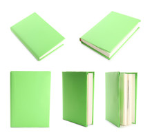Set Of Green Cover Books On White Background