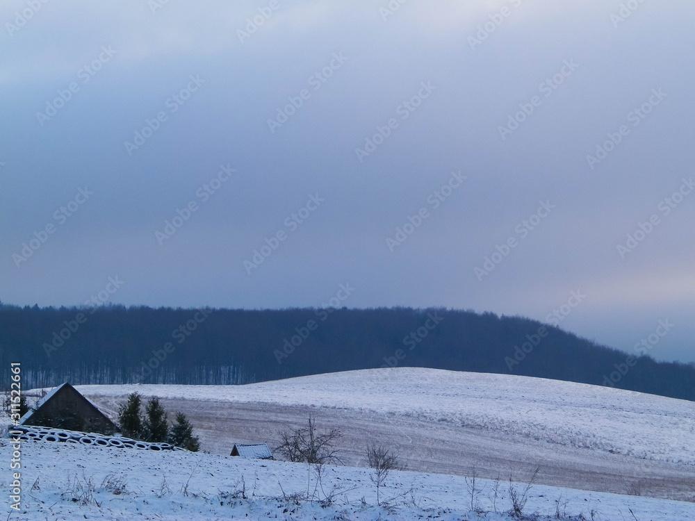 Winter over Kashubian hills, Wiezyca, Poland.