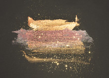Glitter On Abstract Golden And...