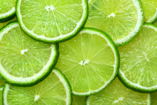 Close-up Juicy Lime Slices Abs...