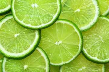 Close-up juicy Lime slices abstract background in pastel green color. Bright summer texture.