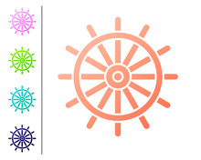 Coral Ship Steering Wheel Icon Isolated On White Background. Set Color Icons. Vector Illustration