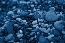 Rocky Black Sea Coast. Classic Blue Pantone Color Of The Year 2020