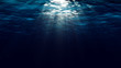 canvas print picture - Abstract underwater background with sunbeams