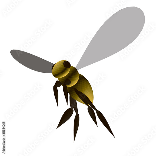 Polygonal yellow bee isolated on a white background Wallpaper Mural
