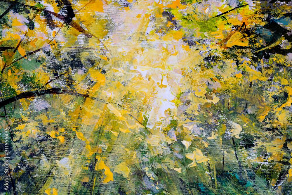 Fototapeta Contemporery modern landscape oil painting impressionism palette knife art Bright sun in the forest nature