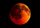 Blood moon in high resolution isolated on black background