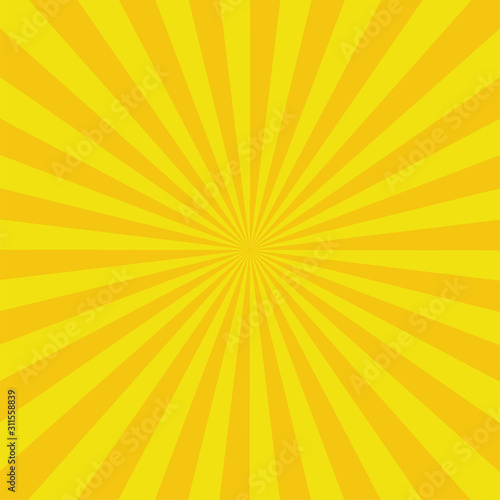 Cuadros en Lienzo  Yellow sun rays background