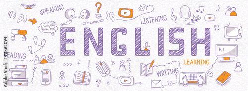 Photo Header for websites about learning English language with outline icons, symbols, signs on white background
