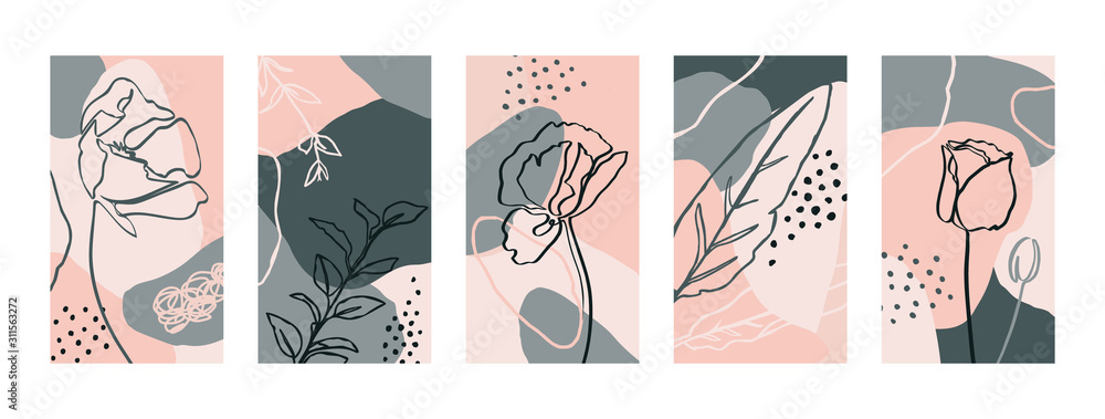Fototapeta Set Backgrounds with poppy flowers and flora Elements. Abstract Mobile Wallpapers in minimal trendy style templates for social media stories. Vector Illustration in pastel color pink, green