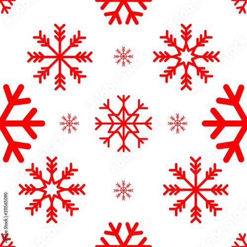 Fototapeta Red color Snowflakes seamless pattern. Vector illustration. obraz na płótnie