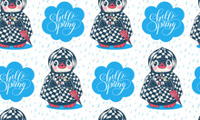 Seamless Pattern With Cute Pen...